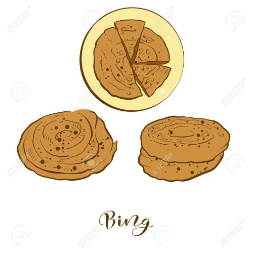 small resolution of colored sketches of bing bread vector drawing of flatbread food usually known in china