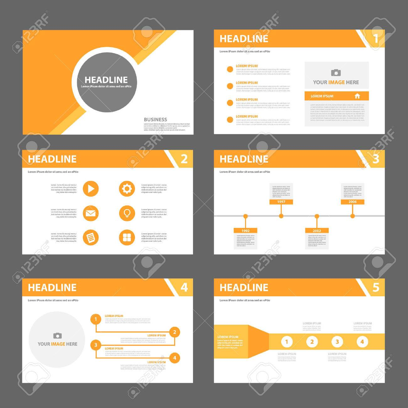 Orange Multipurpose Presentation Template Flat Design Set For, Powerpoint  Templates