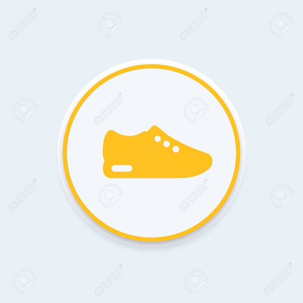 medium resolution of running shoe icon trainers sneakers round icon pictogram vector illustration stock vector