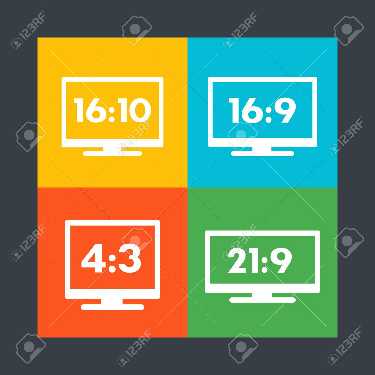 aspect ratio icons 16 9 16 10 4 3 21 9 widescreen and standard