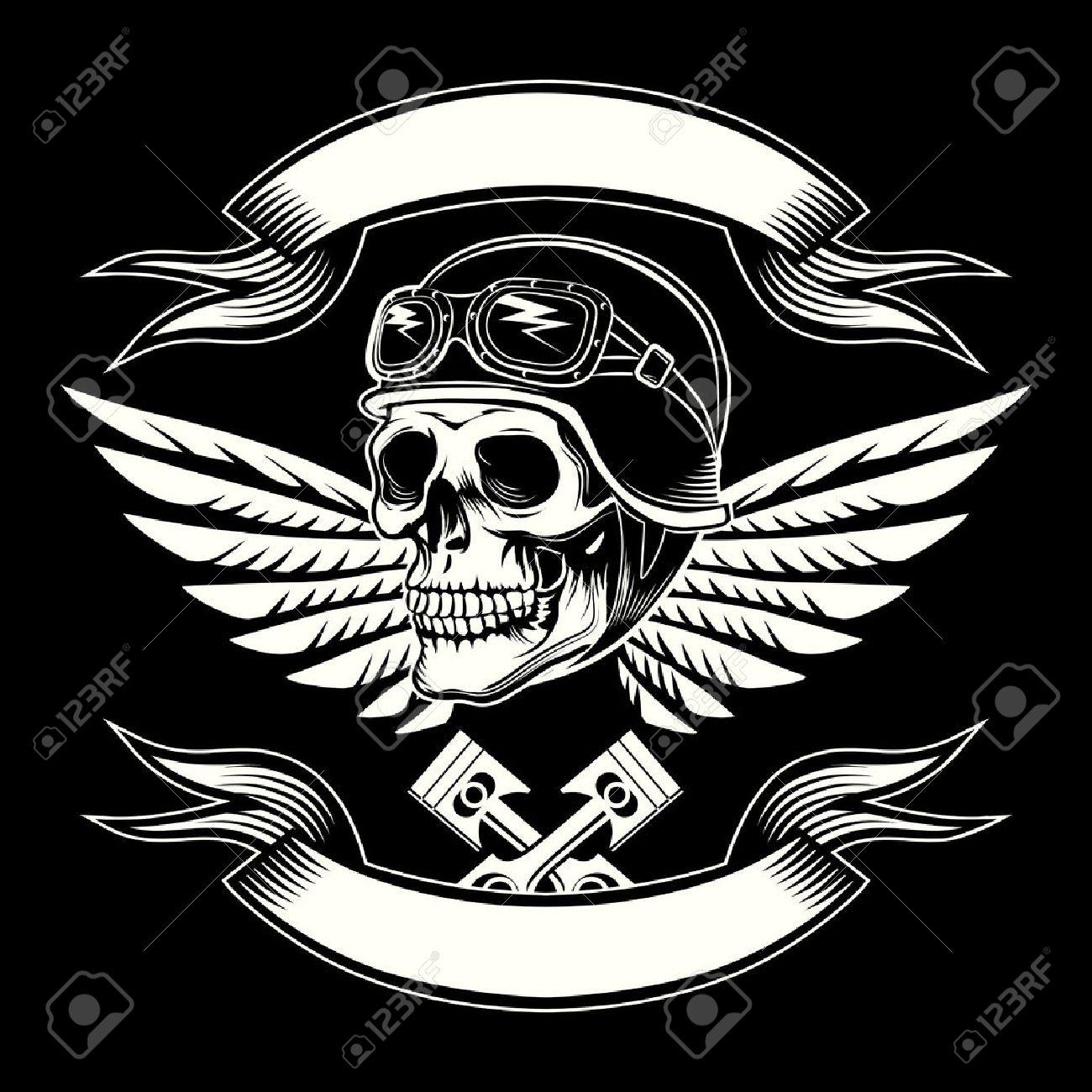 motor skull vector graphic