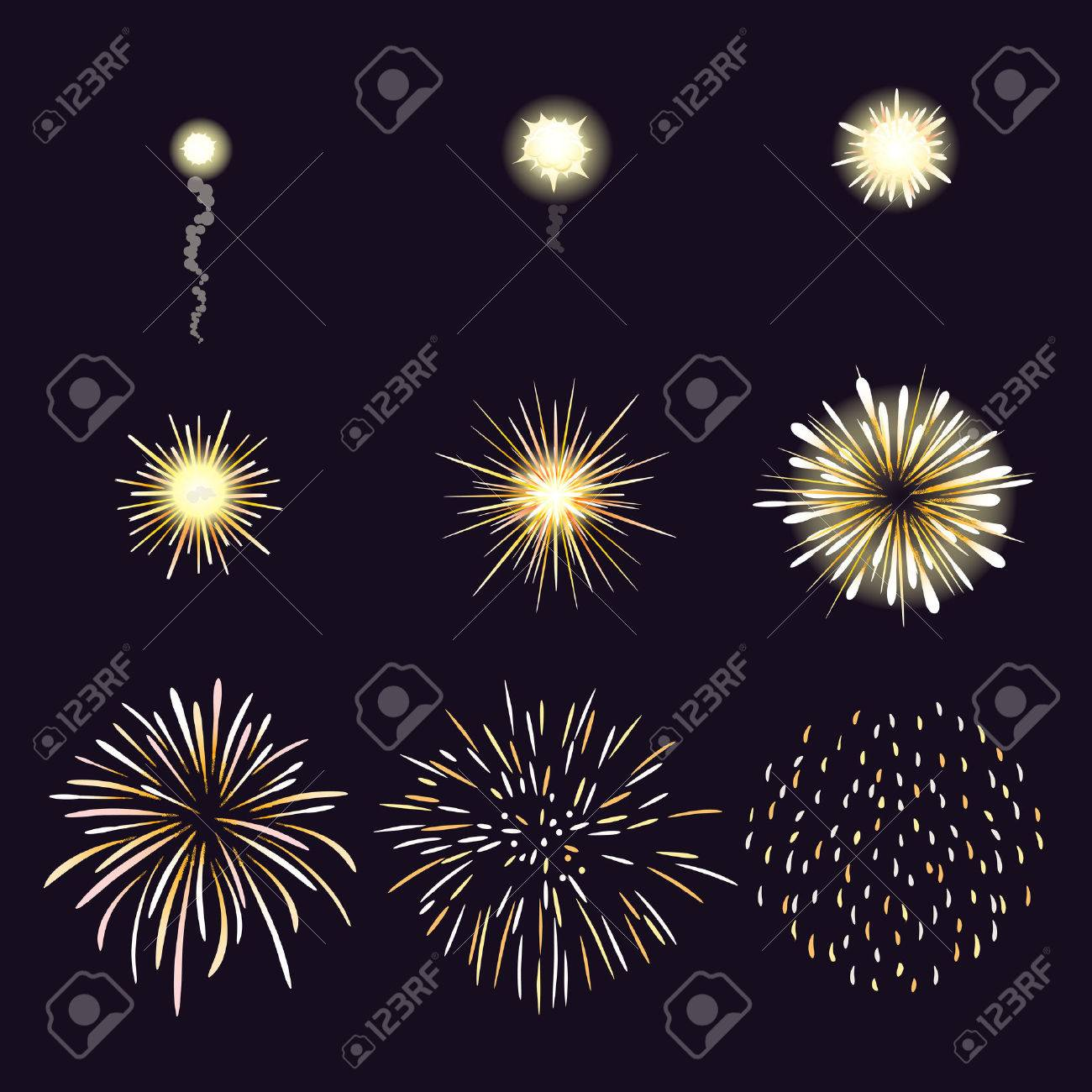hight resolution of animation of firework effect in cartoon comic style festival and event celebrate and party
