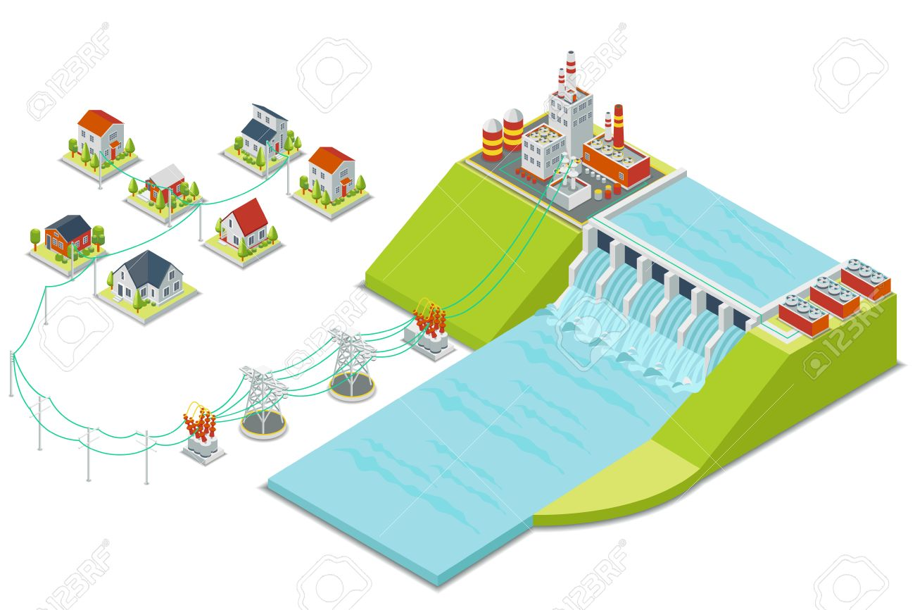 hight resolution of hydro power plant 3d isometric electricity concept energy electric alternative hydroelectric hydro