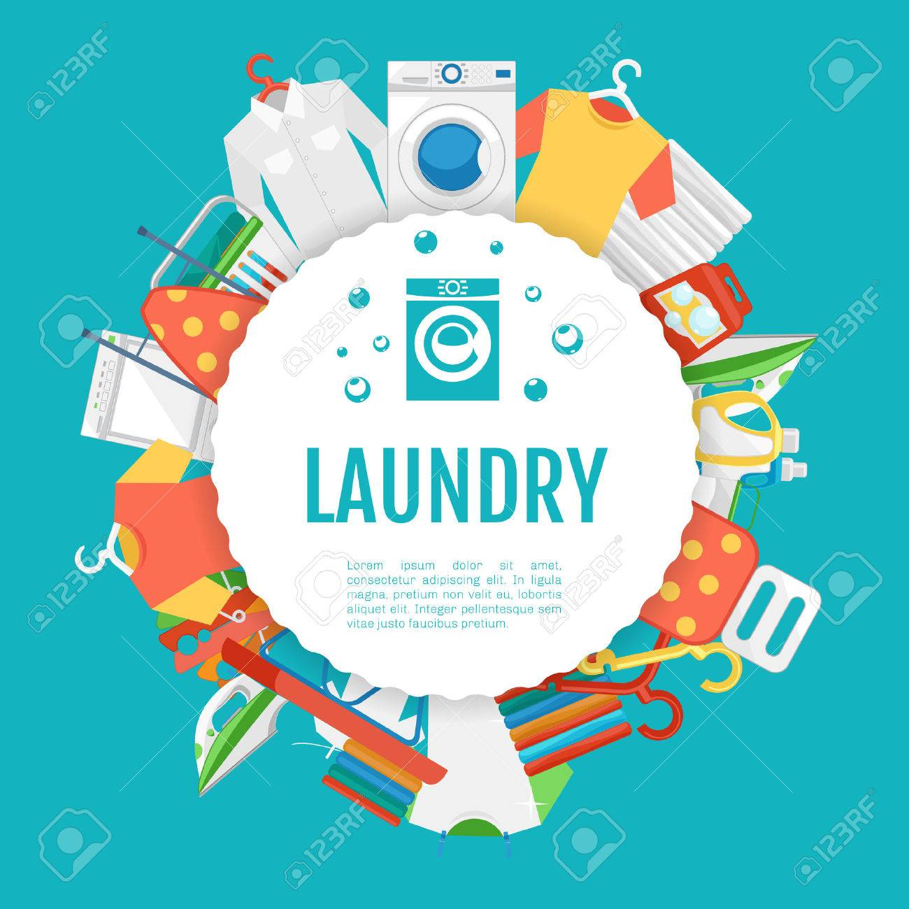 laundry service poster design laundry icons circle label with