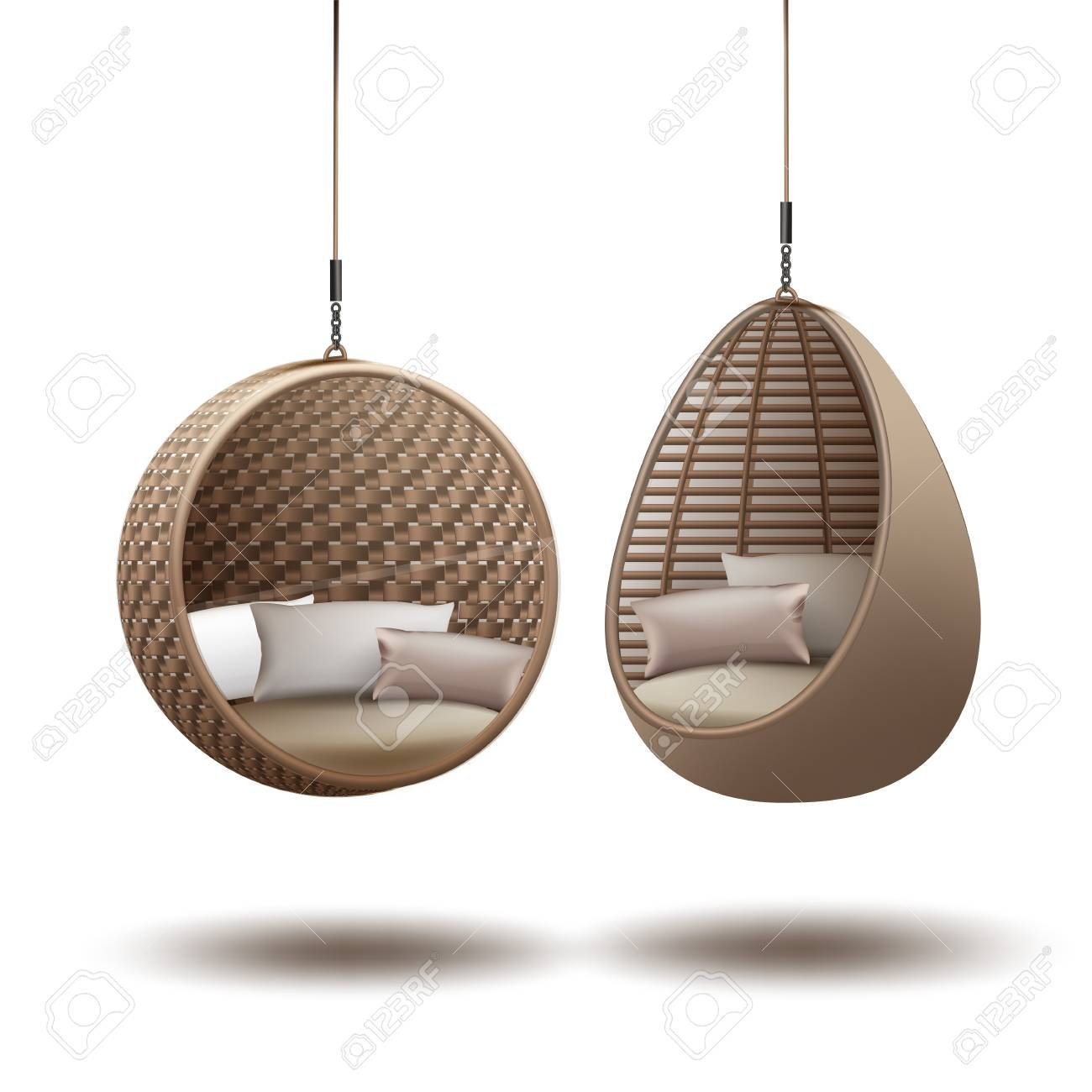 hanging chair swing adirondack templates wicker chairs on a chain with cushions vector white background