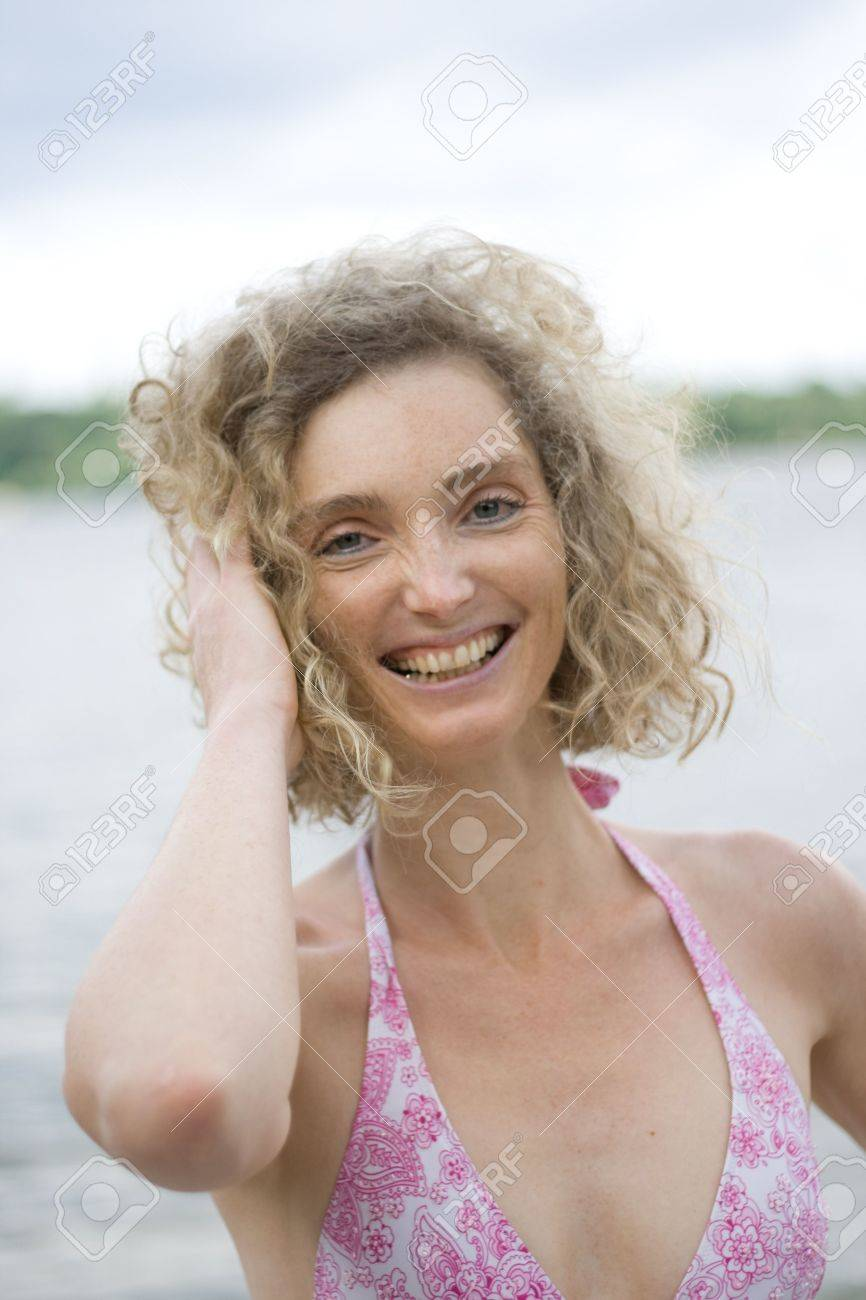 Photo De Femme Mature : photo, femme, mature, Photo, Blonde, Mature, Woman, Smiling, Dressed, Swimsuit, Stock, Photo,, Picture, Royalty, Image., Image, 5385795.