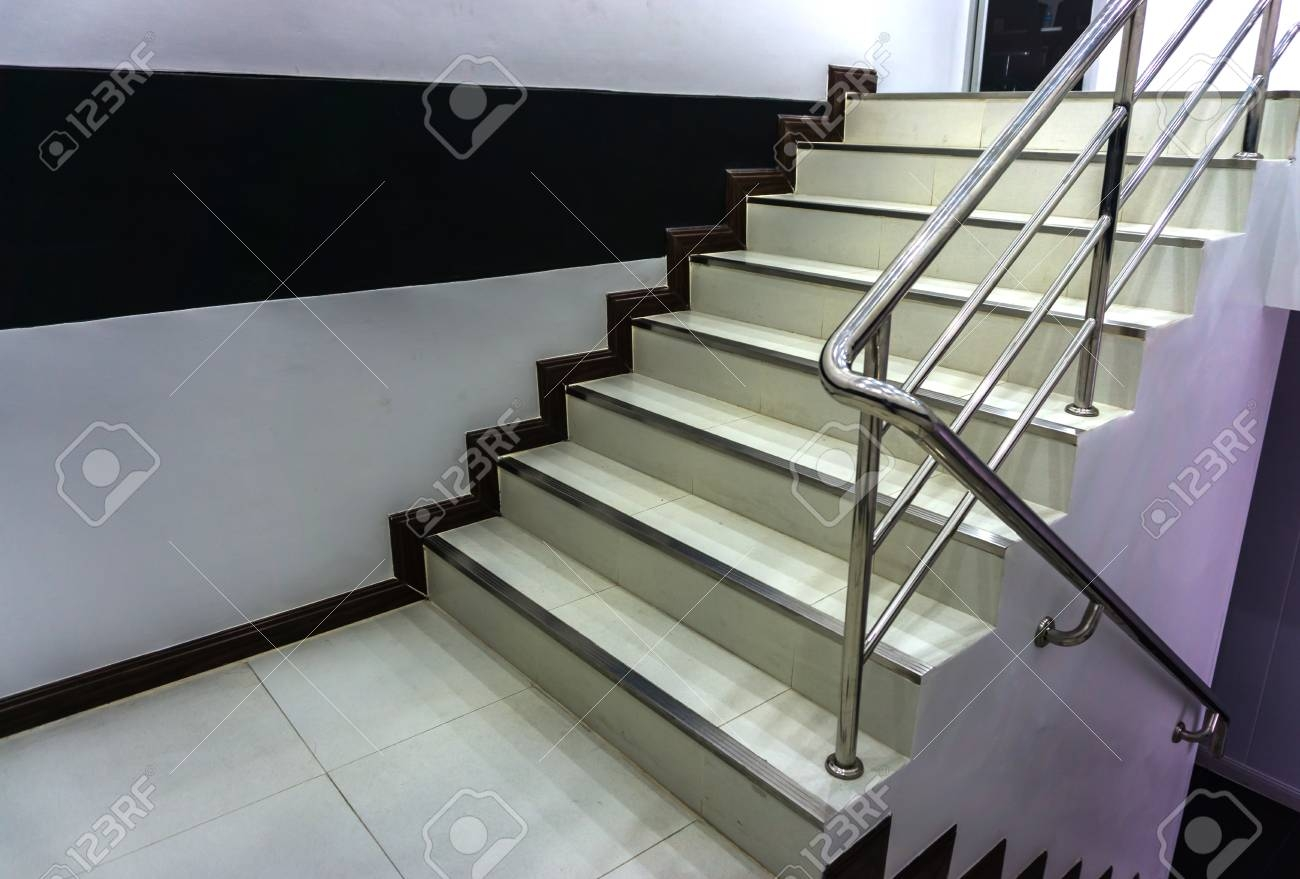 Office Stairs With Stainless Steel Railing Stock Photo Picture   Steel Handrails For Stairs   Glass   Hand   Stainless Steel   Metal   Wall Mounted
