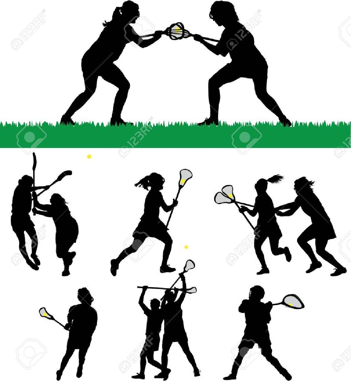 hight resolution of vector women s lacrosse vector silhouettes