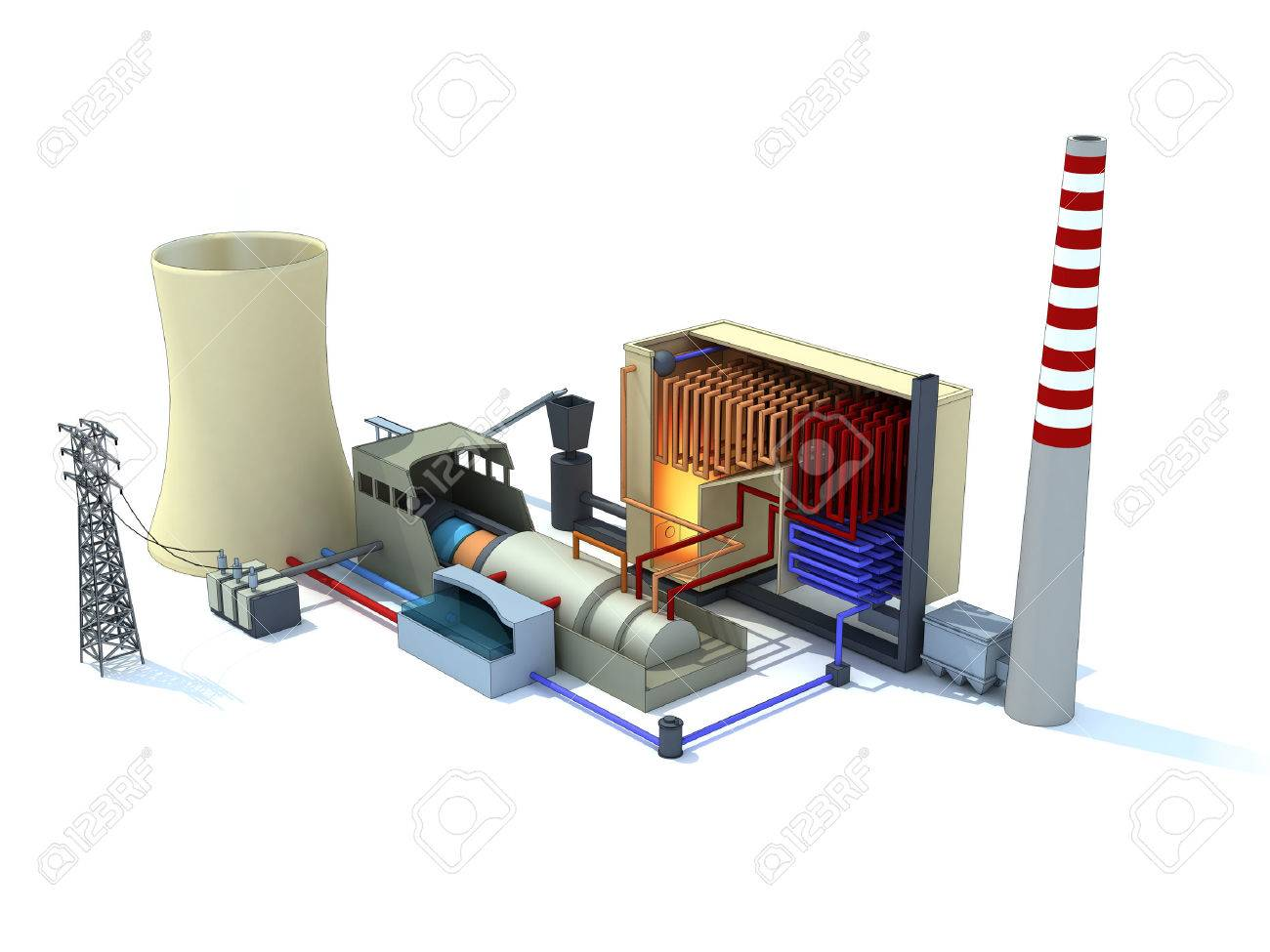 hight resolution of 3d rendering of a thermal power plant inked stock photo 35766204