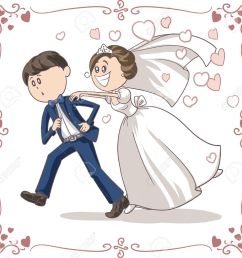 running groom chased by bride funny cartoon stock vector 31278793 [ 1300 x 1259 Pixel ]