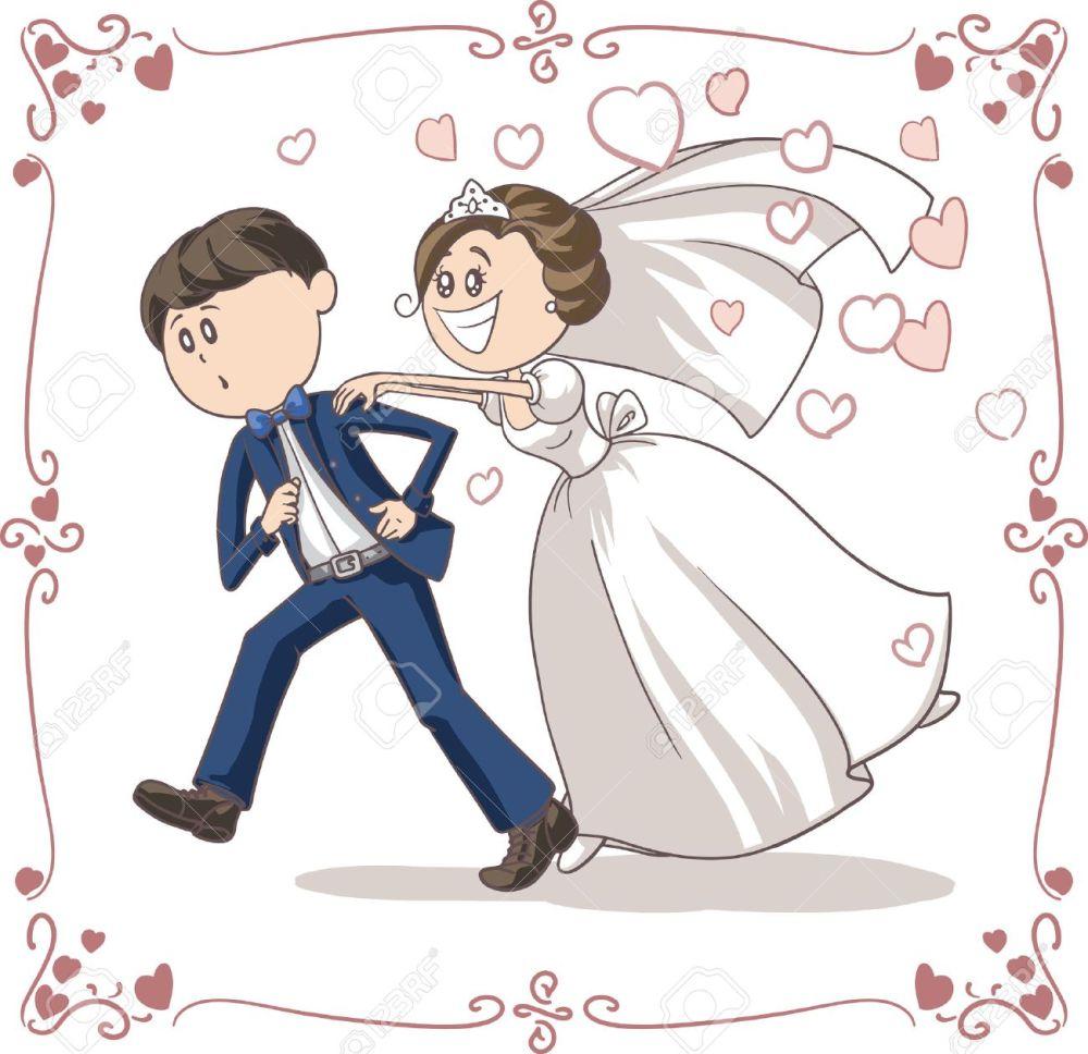 medium resolution of running groom chased by bride funny cartoon stock vector 31278793