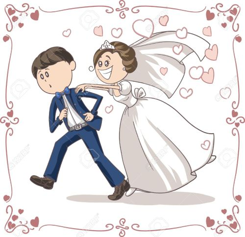 small resolution of running groom chased by bride funny cartoon stock vector 31278793