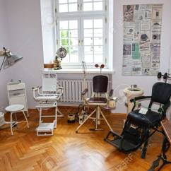 Vintage Dentist Chair Chairs And Ottoman Sets Equipment Of The Last Century Stock Photo