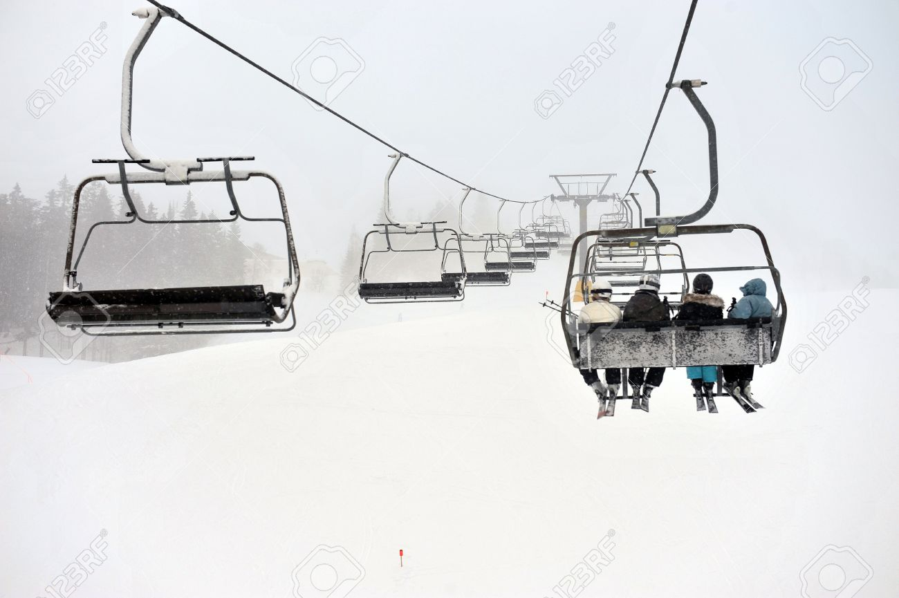 buy ski lift chair black modern dining chairs on snow winter day stock photo picture and royalty 15498138