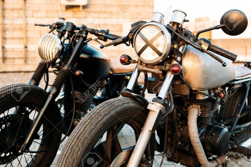 Two Vintage Custom Motorbike Cafe Racer