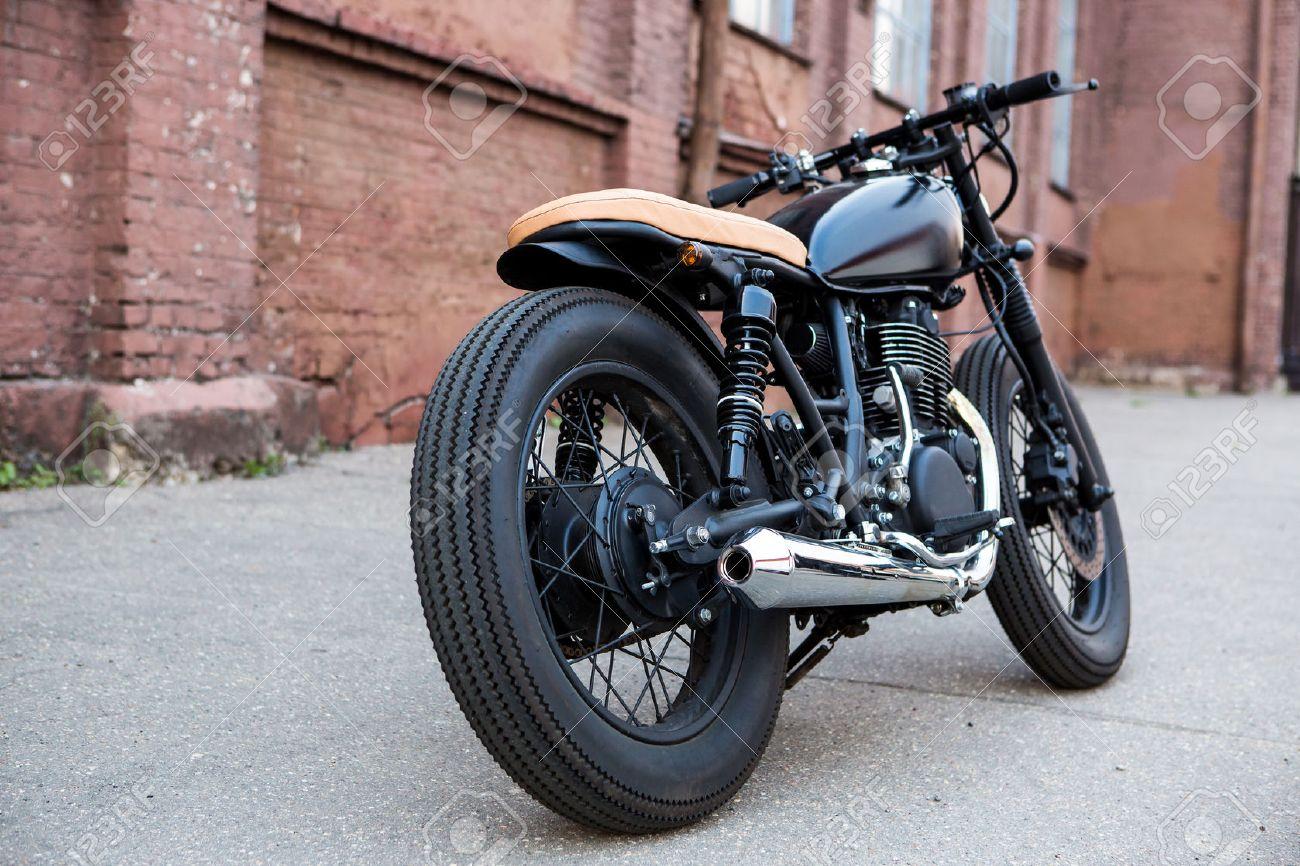 black vintage custom motorbike