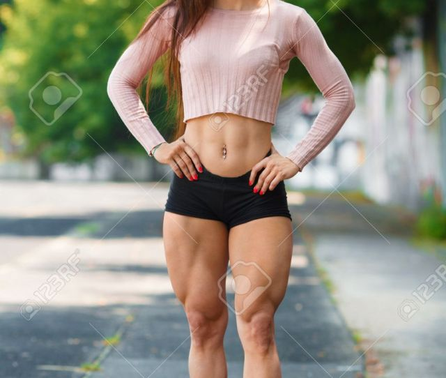 Beautiful Muscular Girl Posing Outdoor Sexy Athletic Woman With Big Quads Stock Photo 76487543