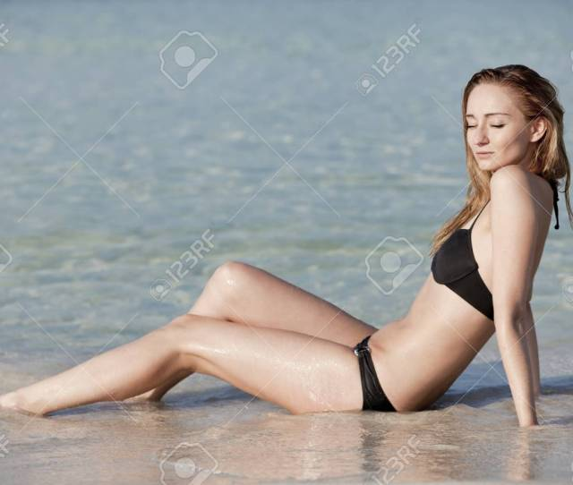 Stock Photo Young Woman With Black Bikini Sexy Girls On The Beach In Water With Blue Sky In Summer Vacation