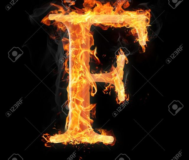Letters And Symbols In Fire Letter F Stock Photo 22046029
