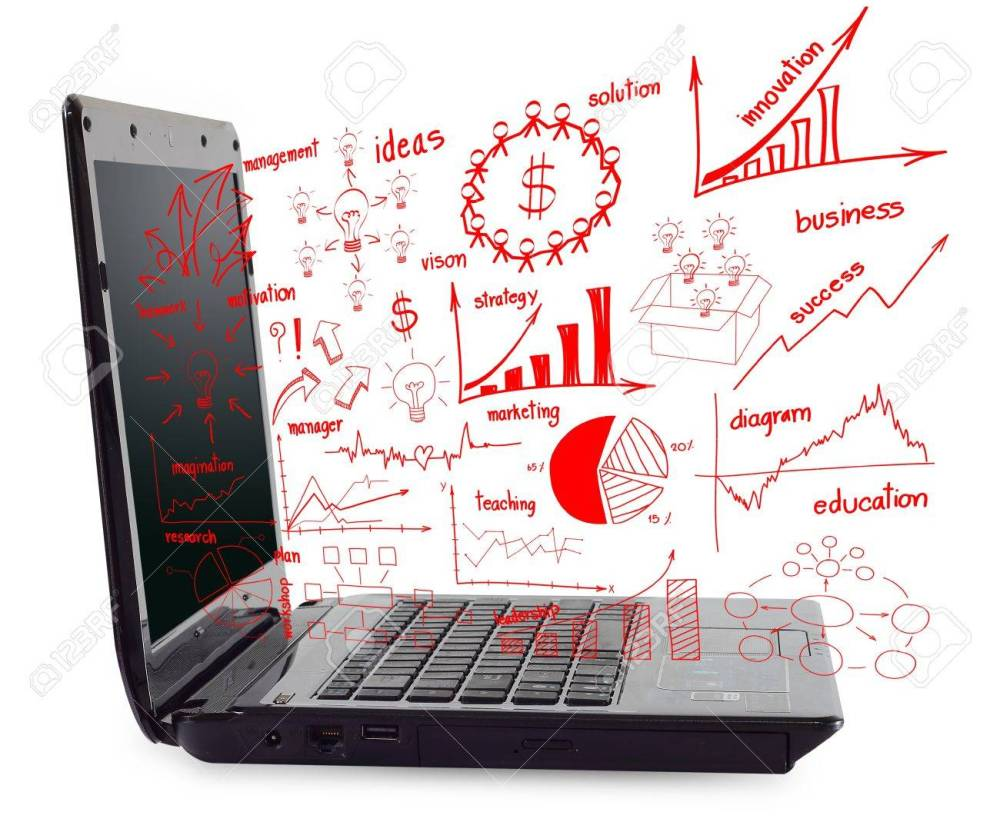 medium resolution of laptop computer pc with drawing business plan concept diagrams stock photo 15856506