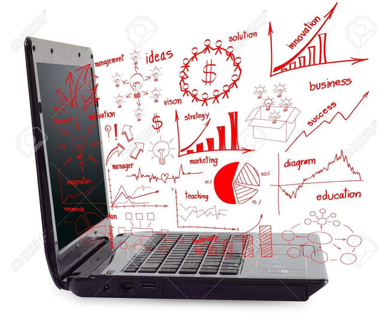 hight resolution of laptop computer pc with drawing business plan concept diagrams stock photo 15856506