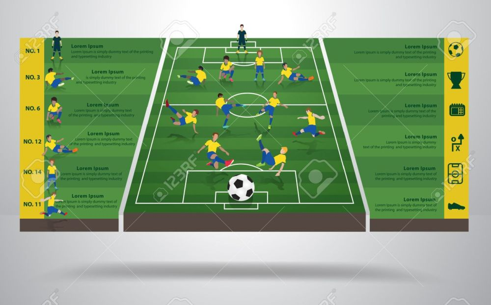 medium resolution of brazilian soccer football player in different positions soccer field background soccer icons modern
