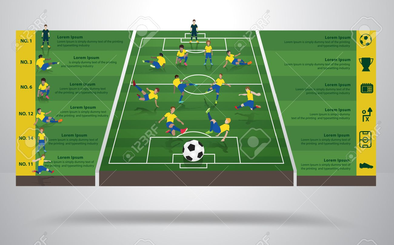 hight resolution of brazilian soccer football player in different positions soccer field background soccer icons modern
