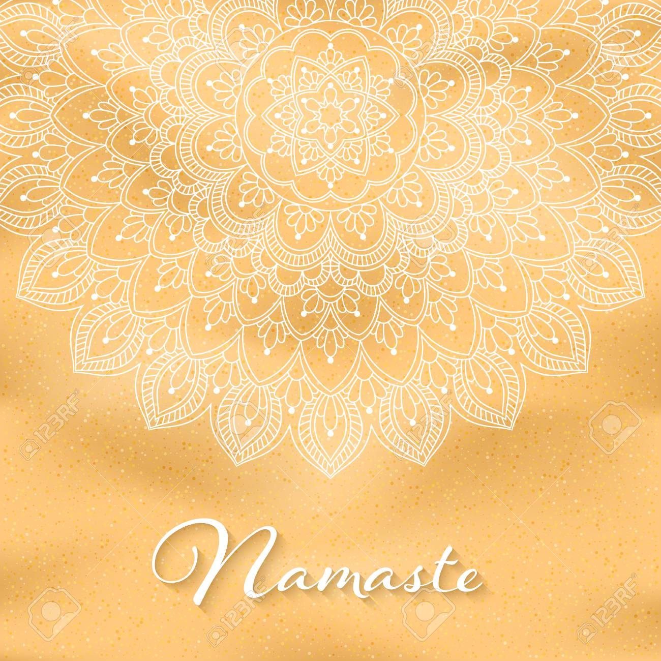 Flyer Or Brochure Template With Hand Drawn Mandala Pattern On Seashore  Background. Yoga Classes Banner