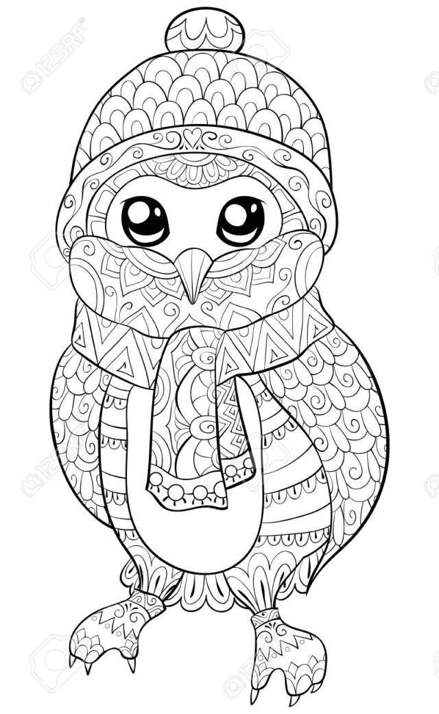 A Cute Cartoon Owl Wearing A Christmas Cap,scarf And Gloves Image