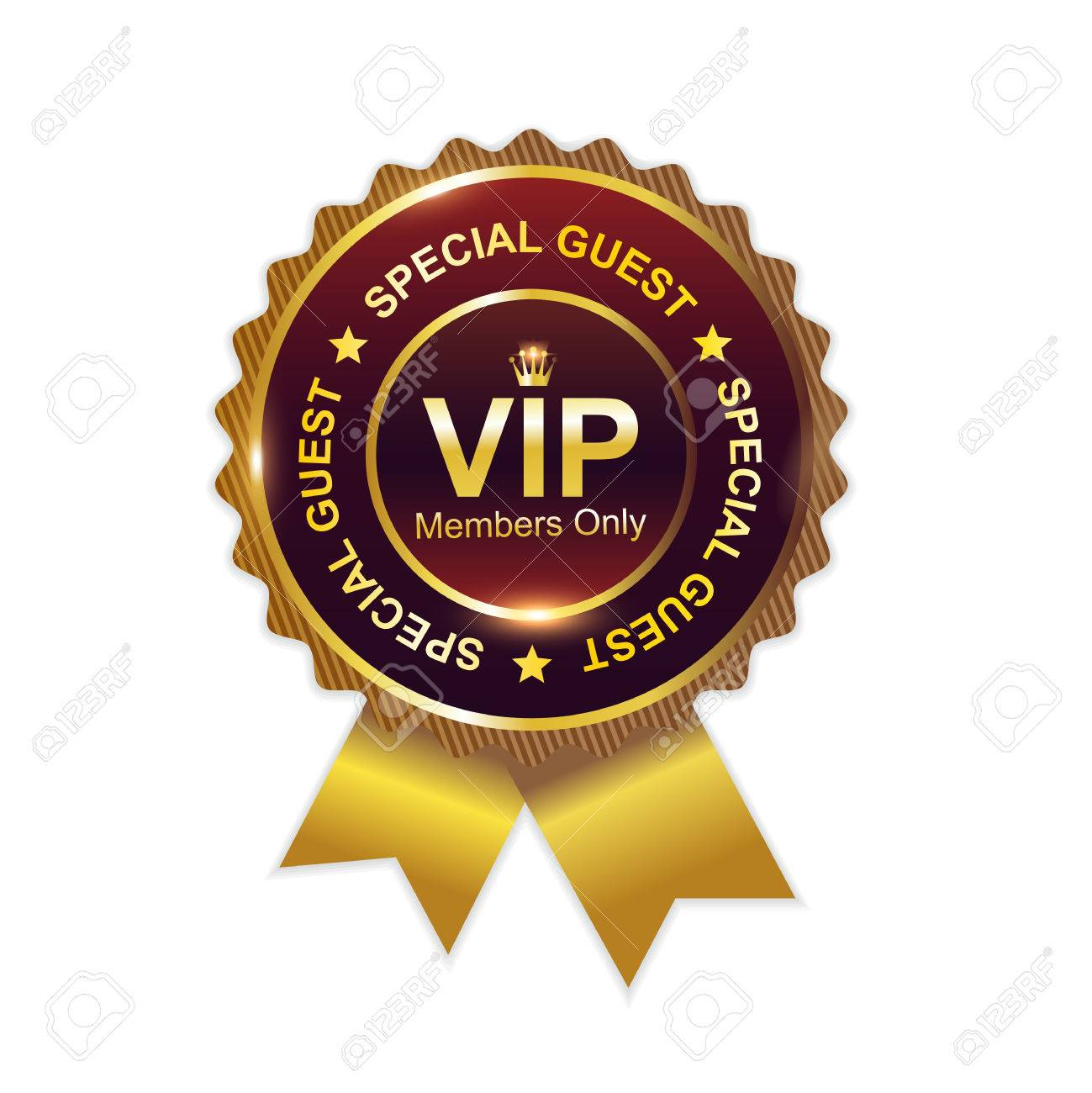 vip badge with ribbon
