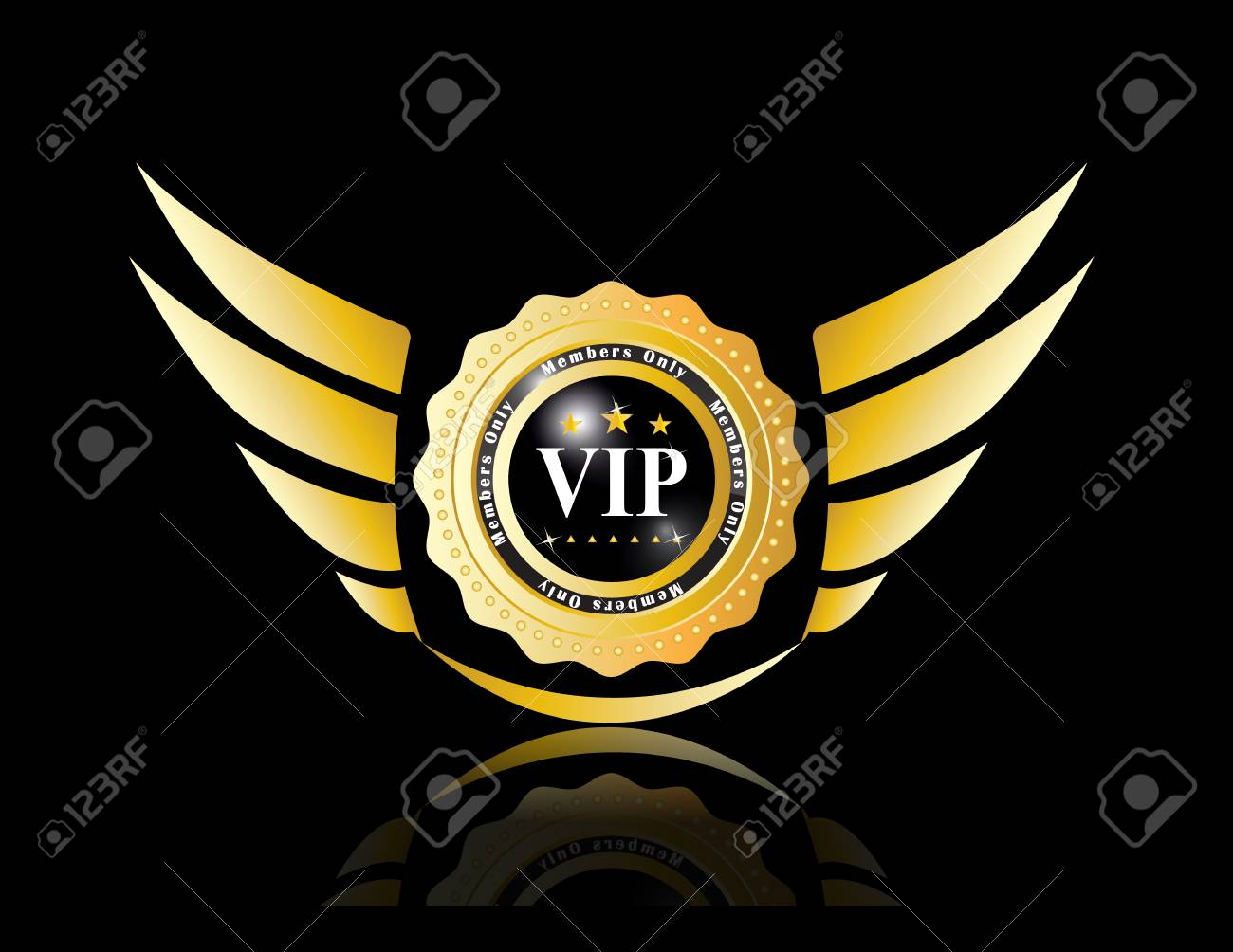 golden vip badges with