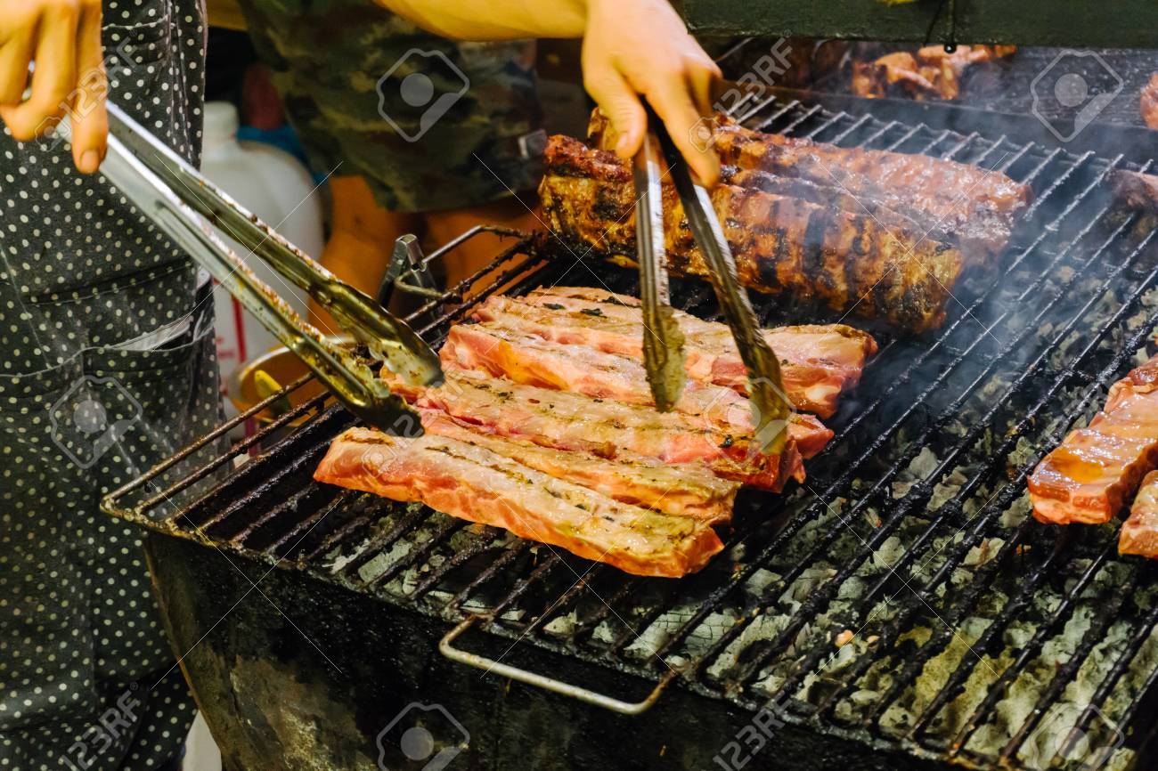 https www 123rf com photo 74548963 grilled meat on the barbecue rack outdoor food items set street food bbq grill tools concept of eati html
