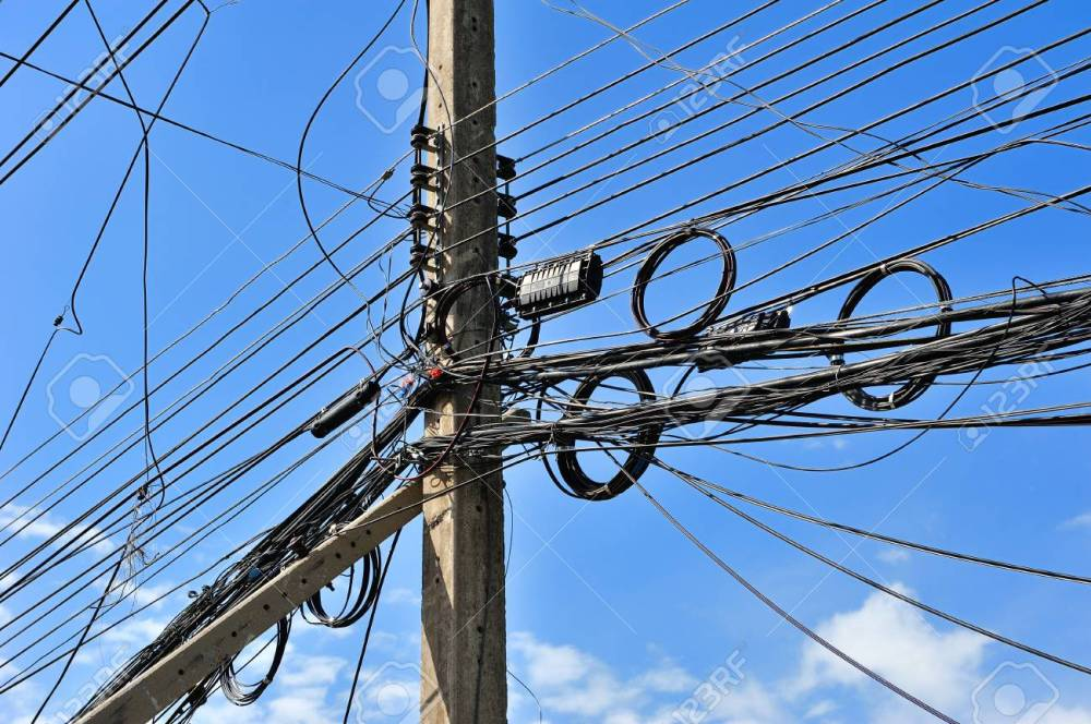 medium resolution of messy electric lines and telephone lines in pole stock photo 31806234