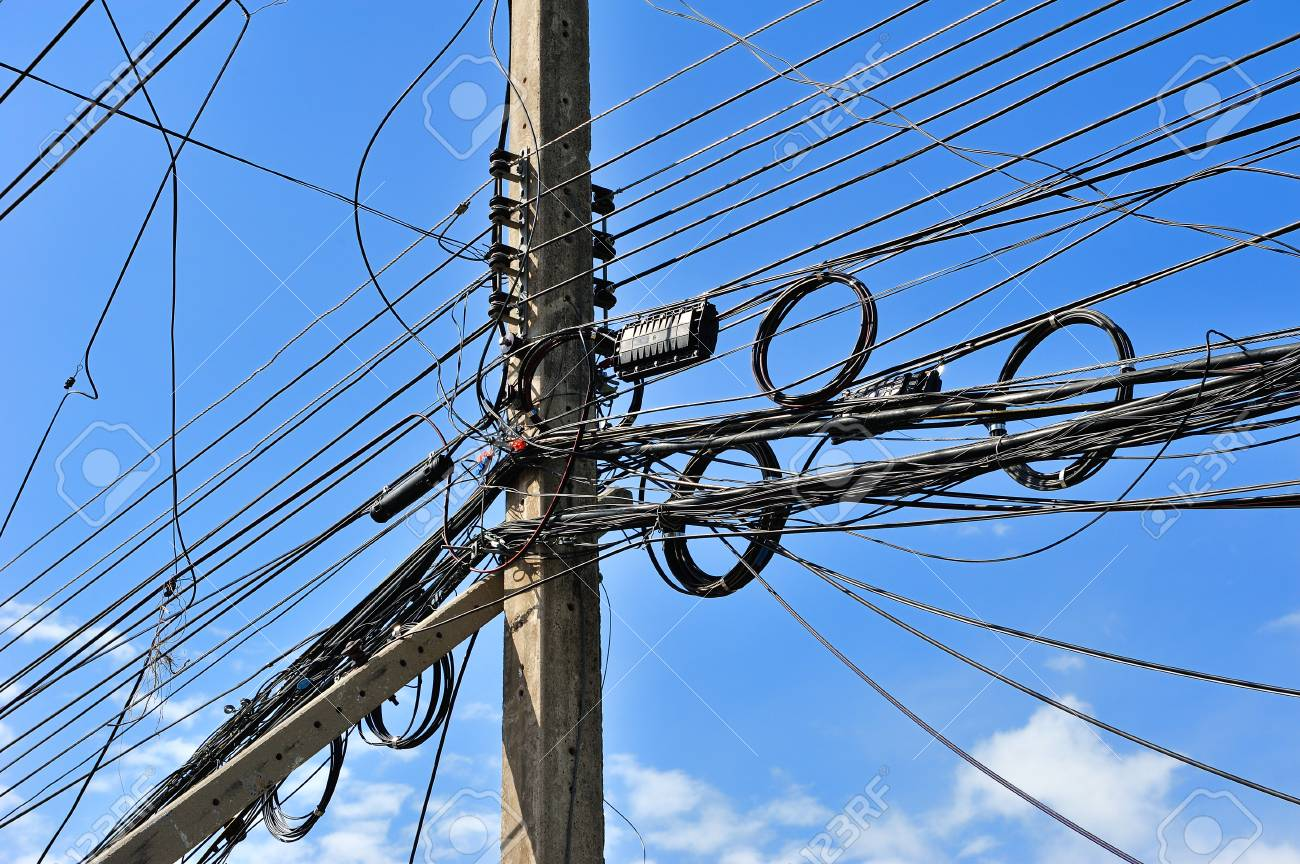 hight resolution of messy electric lines and telephone lines in pole stock photo 31806234