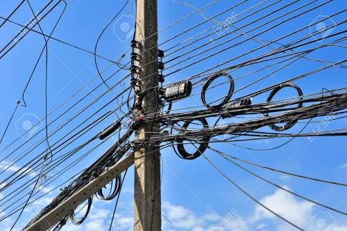 small resolution of messy electric lines and telephone lines in pole stock photo 31806234