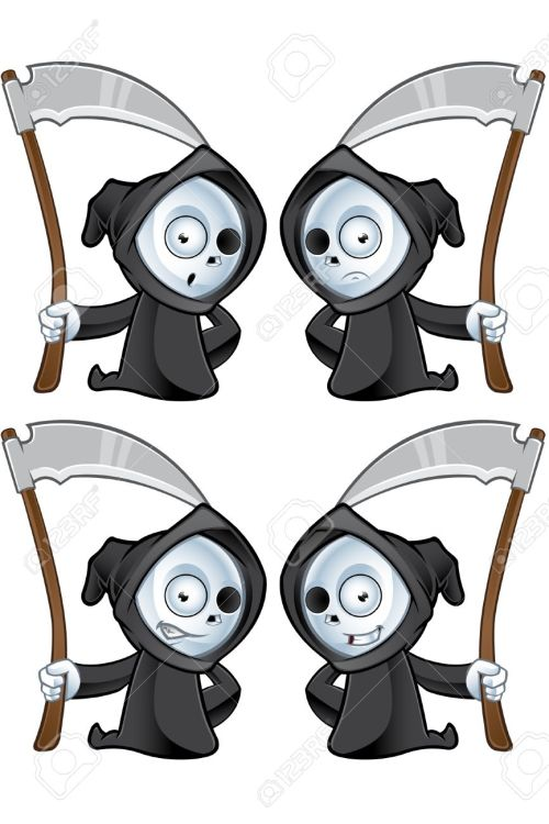 small resolution of a cute little grim reaper illustration with different facial expressions stock vector 22731048