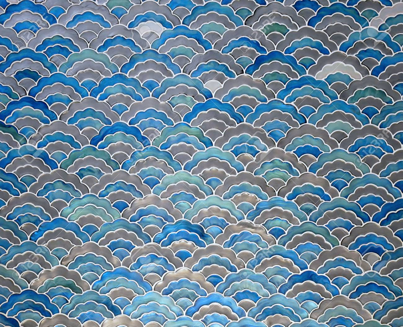 blue ceramic tile mosaic seamless wave pattern texture background