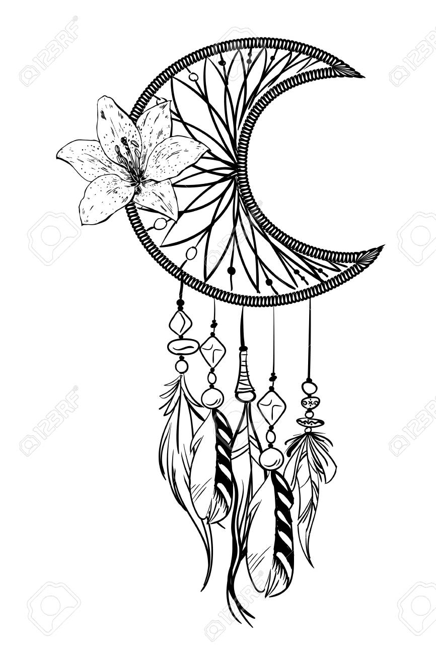 Monochrome Vector Illustration With Hand Drawn Dream Catcher Royalty Free Cliparts Vectors And Stock Illustration Image 103829487