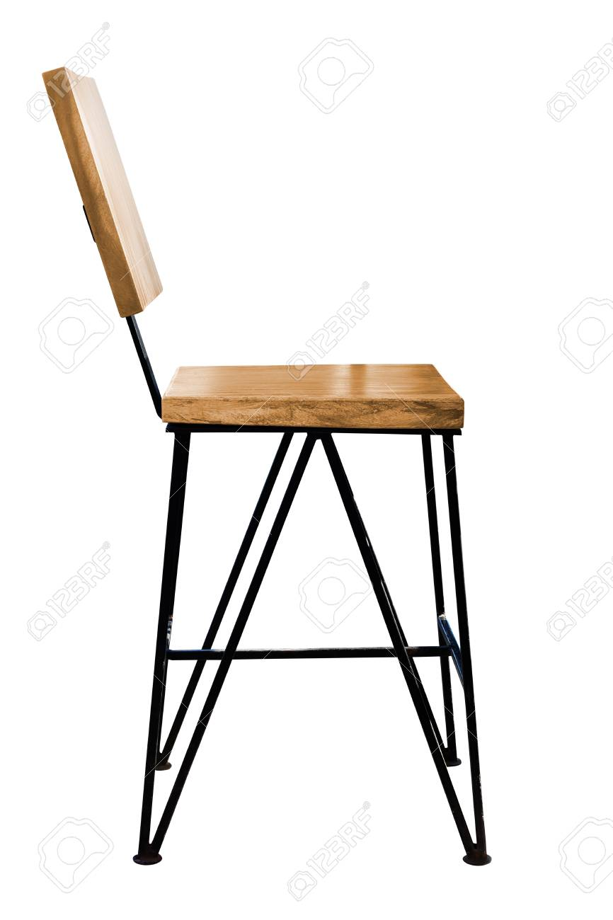 modern wood chair leather chaise lounge with arms wooden steel legs isolated on white background stock photo 105262799
