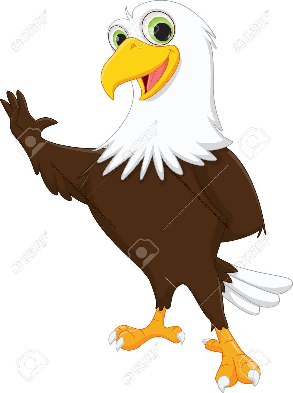 Cute Cartoon Eagle : cartoon, eagle, Eagle, Cartoon, Waving, Royalty, Cliparts,, Vectors,, Stock, Illustration., Image, 60376065.