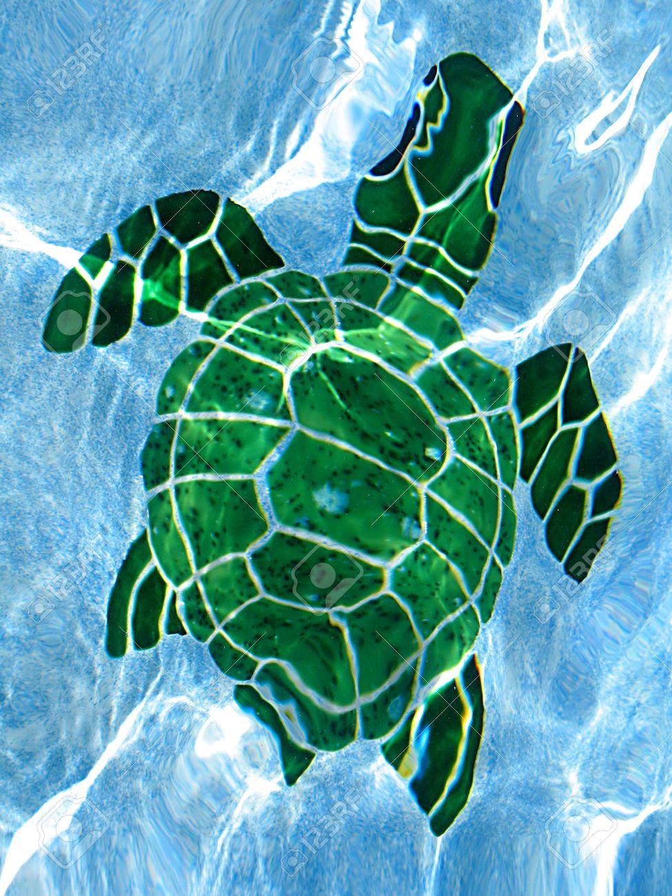 tile swimming pool turtle