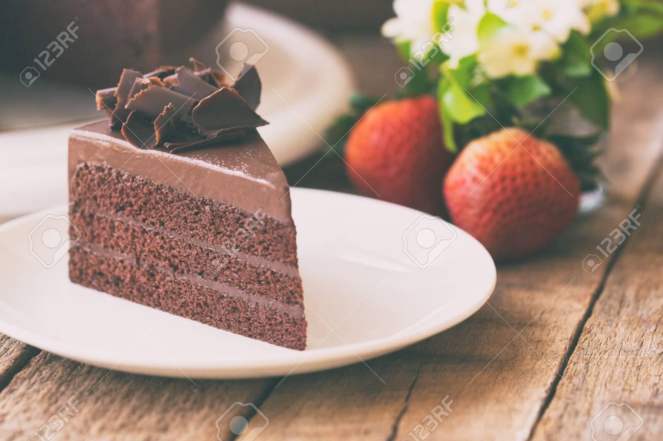 Homemade Bakery Chocolate Fudge Cake Decorated With Chocolate