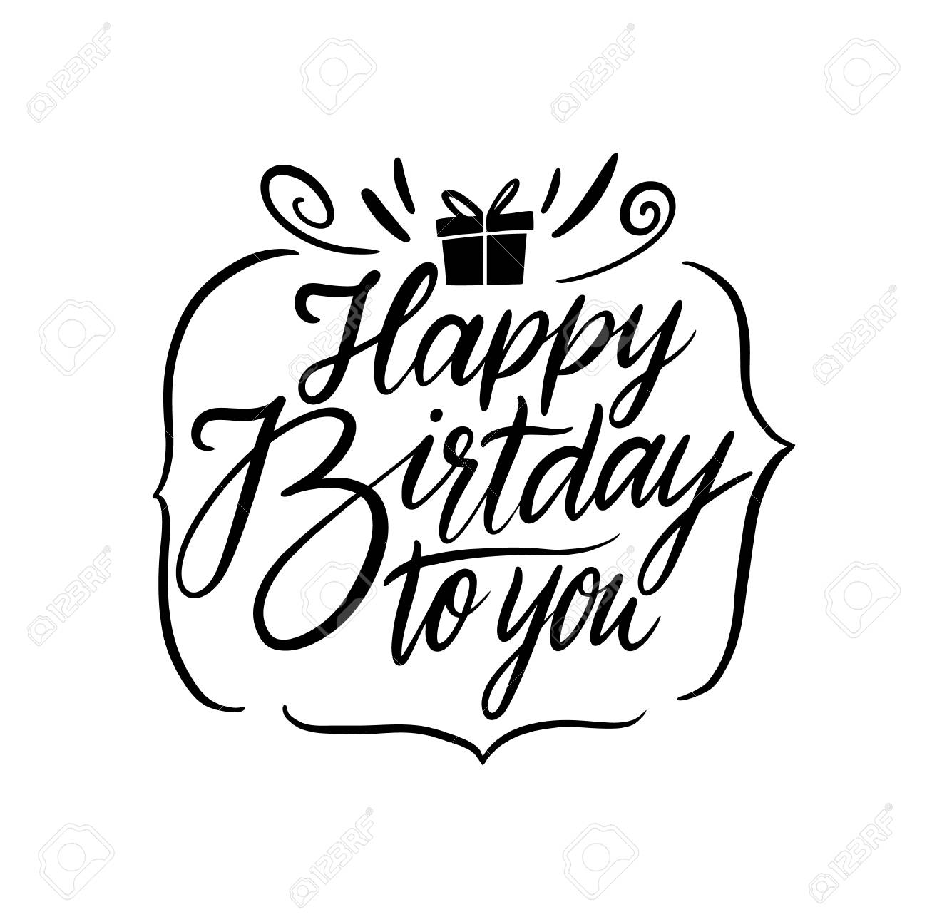 Happy Birthday Vector Lettering Modern Brush Calligraphy Isolated Stock Photo Picture And Royalty Free Image Image 112686571