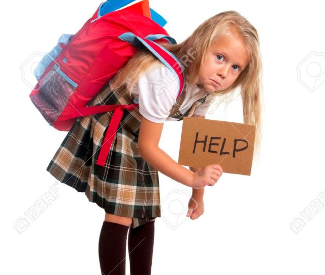 Stock Photo Sweet Little Blonde Schoolgirl Asking For Help Carrying Heavy Backpack Or School Bag Full Causing Stress And Pain On Back