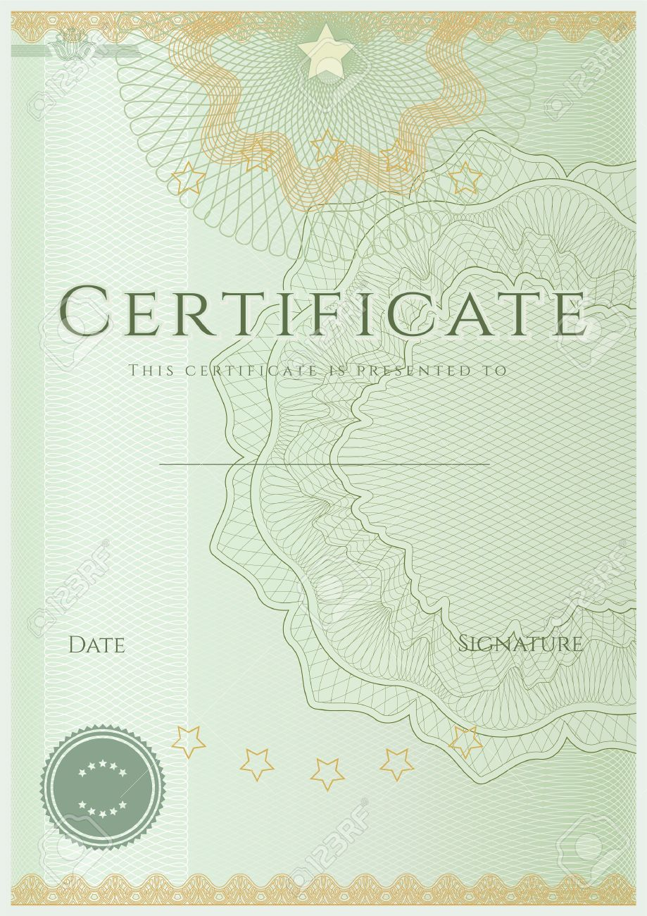 Green Certificate Diploma Of Completion Design Template Sample Background  With Guilloche Pattern Watermarks , Border Stock