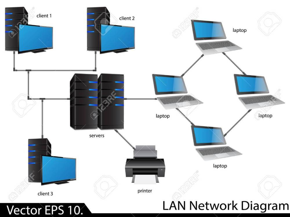 medium resolution of lan network diagram illustrator for business and technology concept stock vector 23986491