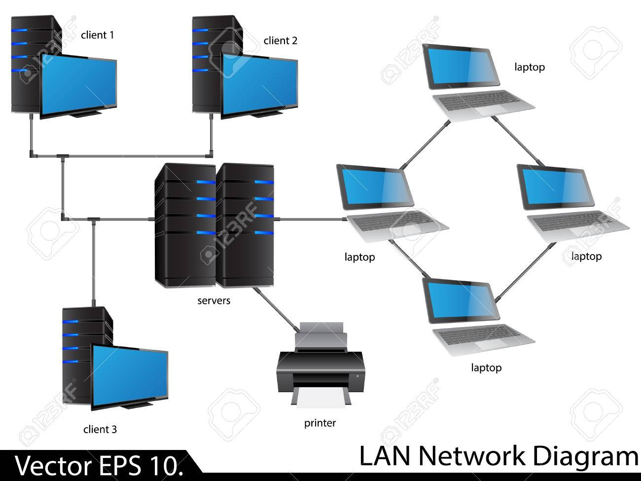 hight resolution of lan network diagram illustrator for business and technology concept stock vector 23986491