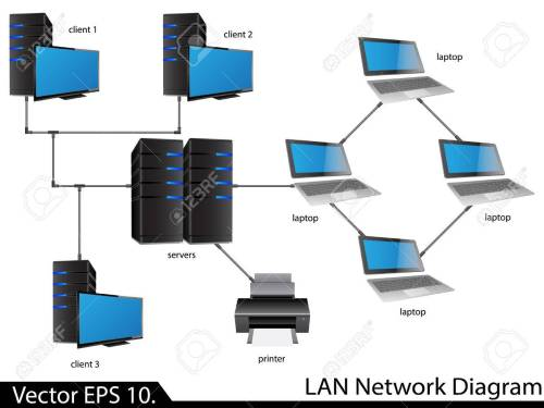 small resolution of lan network diagram illustrator for business and technology concept stock vector 23986491