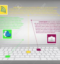 infographic diagram with desktop keyboard technology and business concept vector illustration eps 10 stock [ 1300 x 975 Pixel ]