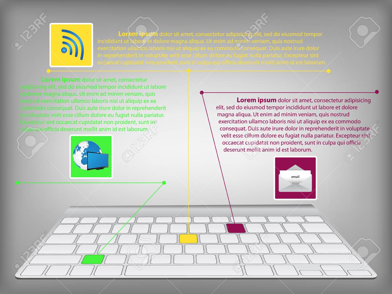 hight resolution of infographic diagram with desktop keyboard technology and business concept vector illustration eps 10 stock